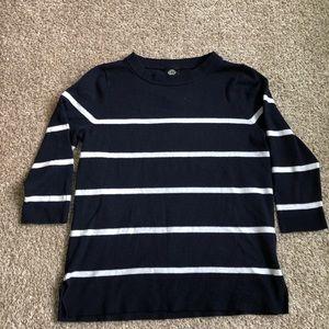 Bobeau Striped 3/4 Length Sweater